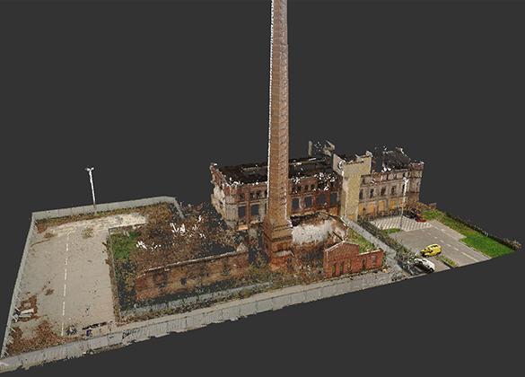 Skanowanie laserowe – dokumentacja architektoniczna i model 3D zabytkowego komina w Tomaszowie Maz.